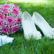 Wedding accessories of the bride — Stock Photo
