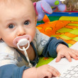 Boy and laptop — Stock Photo