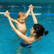 Mother and son in the pool — Stock Photo