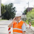 Engineer with the phone near the traffic lights — Stock Photo #12244397