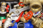 Various plumbing accessories and parts — Stock Photo