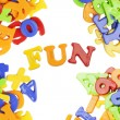 Fun lettering near plastic alphabet letters — Stock Photo #12654600