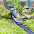 Toy train running through the forest moss — Stock Photo #13218484