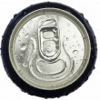 Wet aluminum can wiev from the top with the ring pull — Stock Photo