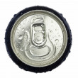 Royalty-Free Stock Photo: Wet aluminum can wiev from the top with the ring pull