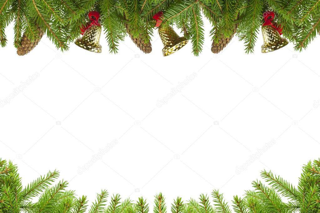 Spruce branches with cones and bells on a white background — Stock Photo #14876825