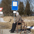 Royalty-Free Stock Photo: Man sits at a bus stop in the countryside