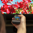 Stock Photo: Remote control in hand against 3D TV screen