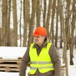 Stock Photo: Builder near building materials in winter