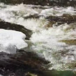 Stock Video: Ice floes in river above rapids