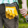 Stock Photo: Mwith gardening shears in hand