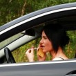 Woman with the phone and lipstick in the car episode 2 — Stock Video #29691469