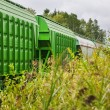 Train of freight wagons and tanks — Stock Photo