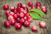 ボード上の新鮮な収穫の有機赤いクランベリー — ストック写真