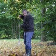 Man collects leaves in the fall episode 3 — Stockvideo