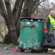 Men near crowded waste containers episode 6 — Stock Video