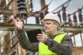 Electrical Engineer in substation — Stock Photo
