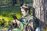 Recruit with tablet pc — Foto Stock