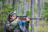 Recruit with optical rifle — Стоковое фото