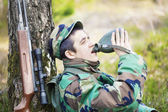 Recruit with water bottle — Stockfoto