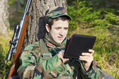Recruit with tablet PC — Stok fotoğraf