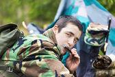 Recruit with harmonica — Foto de Stock