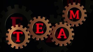 Abstract gears with inscription TEAM episode 4 — Vídeo Stock