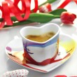 Valentine - cup of coffee with cloth hearts — Stock Photo