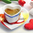 Valentine - cup of coffee with cloth hearts — Stock Photo #18934597