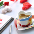 Valentine - cup of coffee and diary with cloth hearts — Stock Photo
