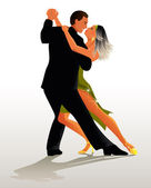 Couple dancing Tango - vector illustration — Stock Vector