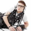 Young man wrapped in tape — Stock Photo