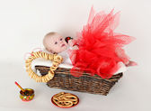 Beautiful baby 6 months basket in the Russian style — Stock Photo