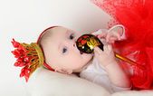 Beautiful baby 6 months basket in the Russian style — Stockfoto