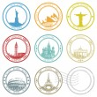 Vector city stamps collection with symbols — Vector de stock #26587803
