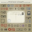 图库矢量图片: Collection of city stamps and postcard