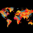 Colorful world map — Stockvectorbeeld