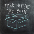 Hand writing Think Outside The Box with hand drawn box on chalkboard — Stock Photo