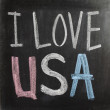 Hand writing I Love USA on chalkboard — Stock Photo