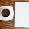 Black coffee and paper  — Stock Photo