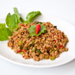 Thai food call PUD KRAPAO MOO — Stock Photo