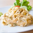 Stir fried rice noodle with chicken — Stock Photo