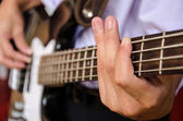 Hand for bass guitar — Stock Photo