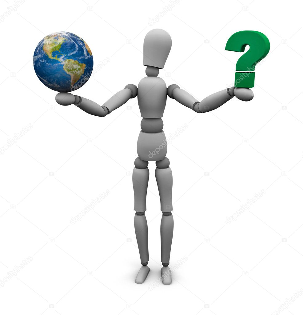 Person holding a green question mark in one hand and Earth in the    Question Mark Person Green