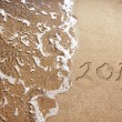 New Year 2013 is coming - numbers written in sand on exotic beach — Stock Photo #15388271