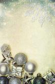 Sztuka świątecznych dekoracji z kulkami i miejsce — Zdjęcie stockowe