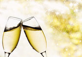 Vintage background with champagne glasses — Photo