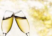 şampanya bardağı ile antika arka plan — Stok fotoğraf