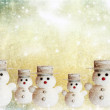 Vintage Christmas card with snowman — Stock Photo