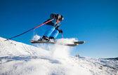 Man practicing extreme ski on sunny day — Stock Photo